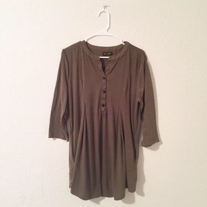 Olive Green Tunic Top with Burton's and Pockets